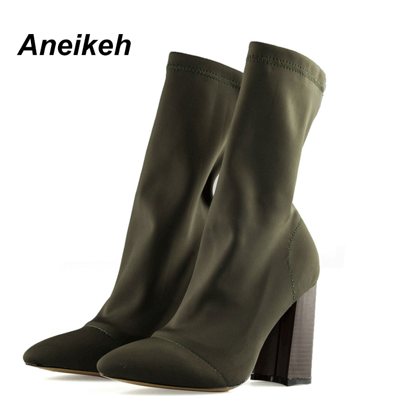 Aneikeh 2018 Army Green Stretch Knit Ankle Boots Heels Women Square Heel Short Booties Pointed Toe 8.5CM High Heels Shoes TB-1