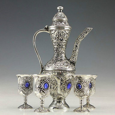 Old Handwork Miao Silver Carved Flower Showily Wine Pot & Noble 4 Wine <font><b>Cup</b></font> silver <font><b>art</b></font> Decoration 100% real Tibetan Silver Brass