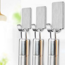 Self-adhesive Wall Door Hook For Hanging Stainless Steel Holder Hanger Bathroom Hook For Clothes Pictures Kitchen Tools 6pcs