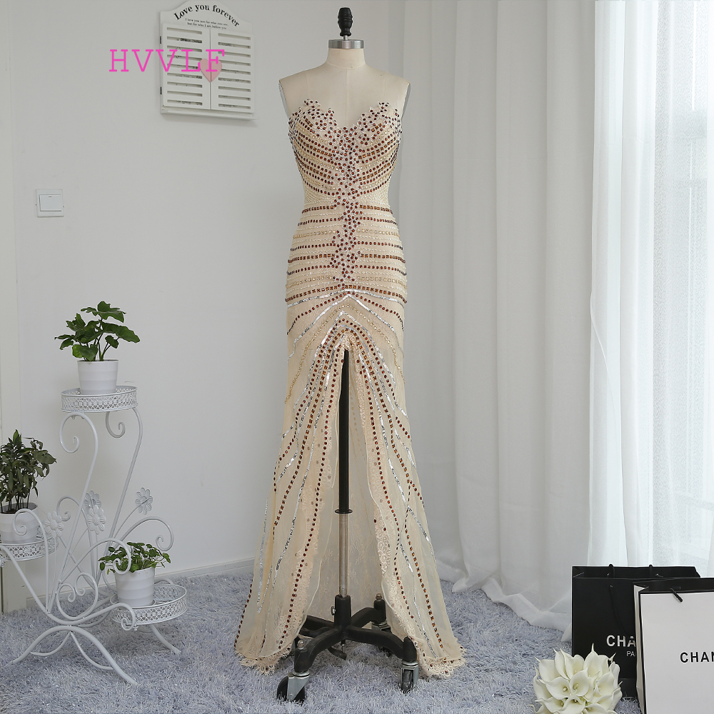 HVVLF Luxurious 2017 Prom Dresses Mermaid Sweetheart Champagne Slit Beaded Crystals Prom Gown Evening Dresses Evening
