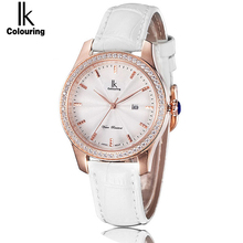 IK coloring модные женские часы люксовый бренд кожаный ремешок дамское платье кварцевые наручные часы с подарочной коробкой relojes mujer