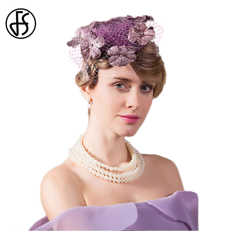 5a3f3681bf7 FS Fascinator Ladies Pillbox Wedding Hats With Veil For Women Elegant Linen  Hat Purple Floral Fedora Banquet Party Derby Cap
