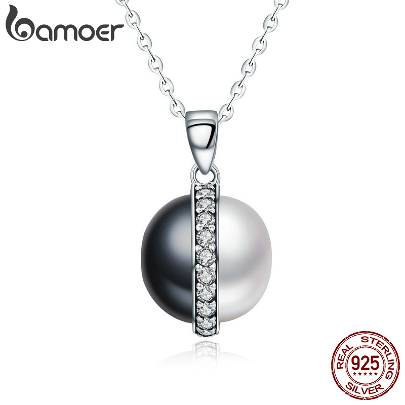 BAMOER Real 925 Sterling Silver Black and White Dazzling Clear CZ Chain Pendant Necklace Women Sterling Silver Jewelry SCN199 bamoer authentic 925 sterling silver red cz evil and angel pendant necklace earrings jewelry set sterling silver jewelry zh067
