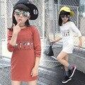 2017 Nueva Adolescentes Ropa Encantadora Ropa Vestidos Niños Vestido Ocasional de Manga larga de Algodón Ropa de Los Niños 6 8 10 12 14 Años