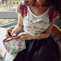 Dabuwawaแขนสั้นเสื้อยืดฤดูร้อน2017ใหม่แฟชั่นฤดูร้อนเพิ่มขึ้นพิมพ์หนังสือคอกลมประ