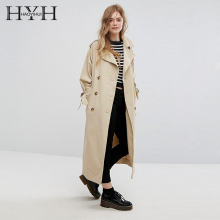 HYH Haoyihui Fashion Autumn Simple And Casual Conventional Lapel Double-breasted Solid Color Tie Loose Long Elegant Lady Coat