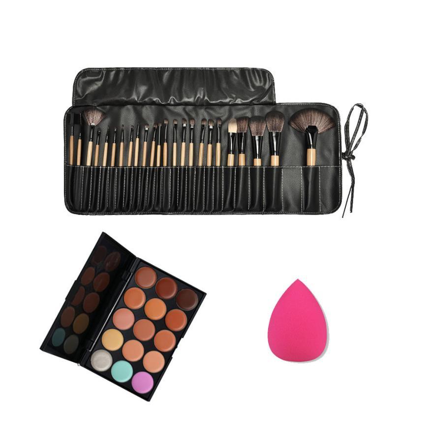 24pcs MakeUp Brushes Kit 15 Colors Concealer Palette Sponge Puff Makeup Set Facial Contour Palette durable JU10 drop shipping
