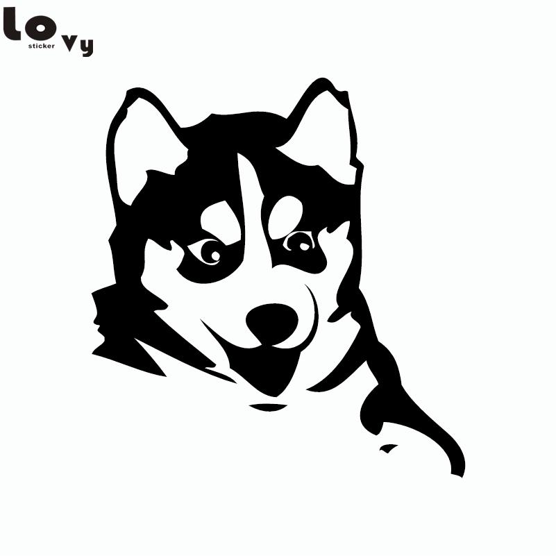 Husky Dog Siberian Malamute Silhouette Car Sticker Cartoon