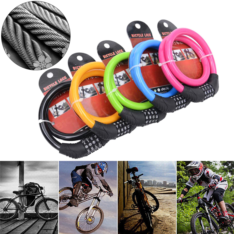 Cute Color Cycling Security 4 Digit Combination Bike Bicycle Cable Chain Lock