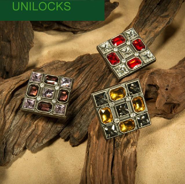 Mobiliário Hardware colorido diamante cristal vidro cozinha luxuoso gaveta Handle maçanetas ( tamanhos : 47 mm * 47 mm )