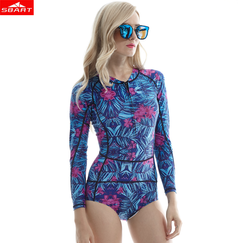 SBART Women Long sleeve Rashguard One Piece Swimsuit Shirt Brief Swimwear Vintage Bathing Suit Summer Beach Wear Padded Swimming sbart upf50 rashguard 2 bodyboard 1006