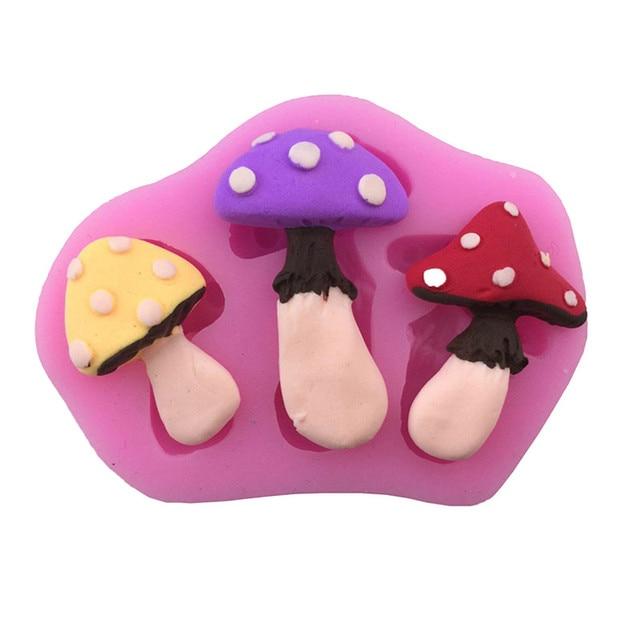 3 Mushrooms 3D Food Grade Pastry Fimo Silicone Mold Fondant Sugar Chocolate  Cake Decoration DIY Baking