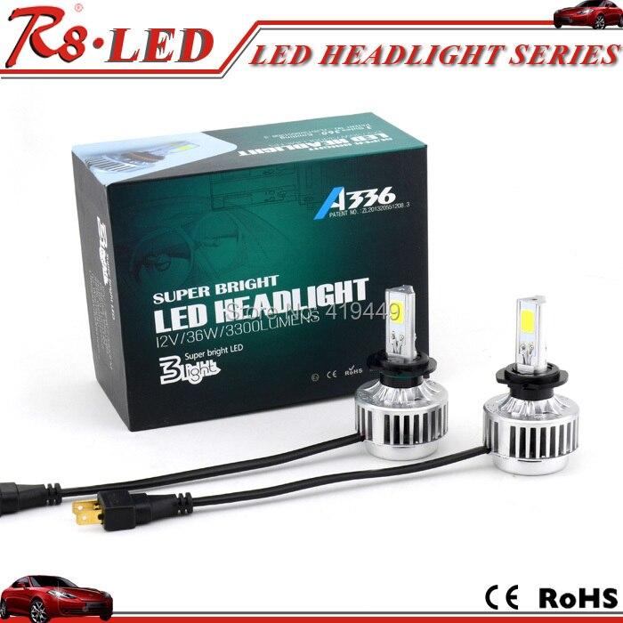 Hot Sale Led Headlight All In One A336 H7 Car Led Headlight Fog Lamp 3 Cob 3300lm 6000k H7 Led