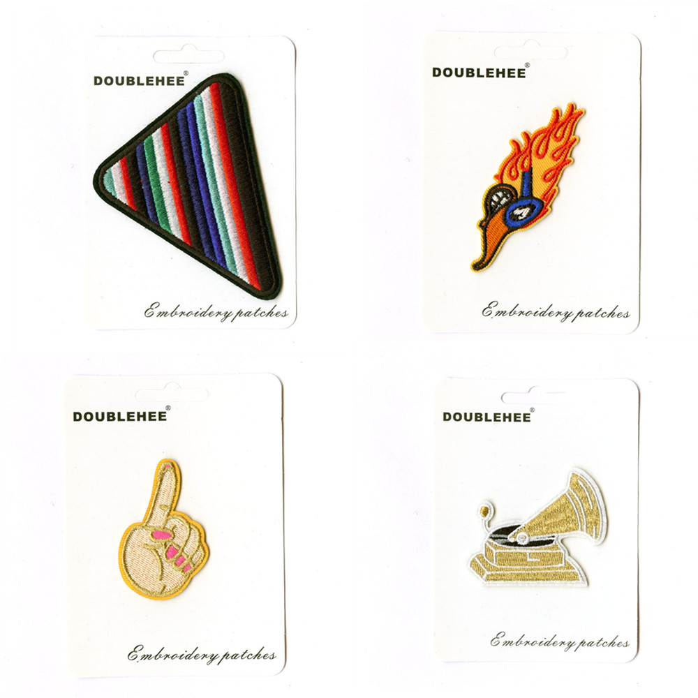 Triangle Hot Music Supermarket Gift Card Specification Patch Embroidered Iron On Patches Cloth Coat Bag Shoes DIY Accessories
