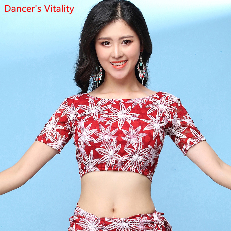 Summer Women Short Sleeve Modal/lace Belly Dance Blouse Top Practice Sexy White Black Red Free Shipping