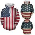 Новые мужские Зимние Случайные Свободные Длинным Рукавом США Флаг Теплый С Капюшоном Пуловер топы