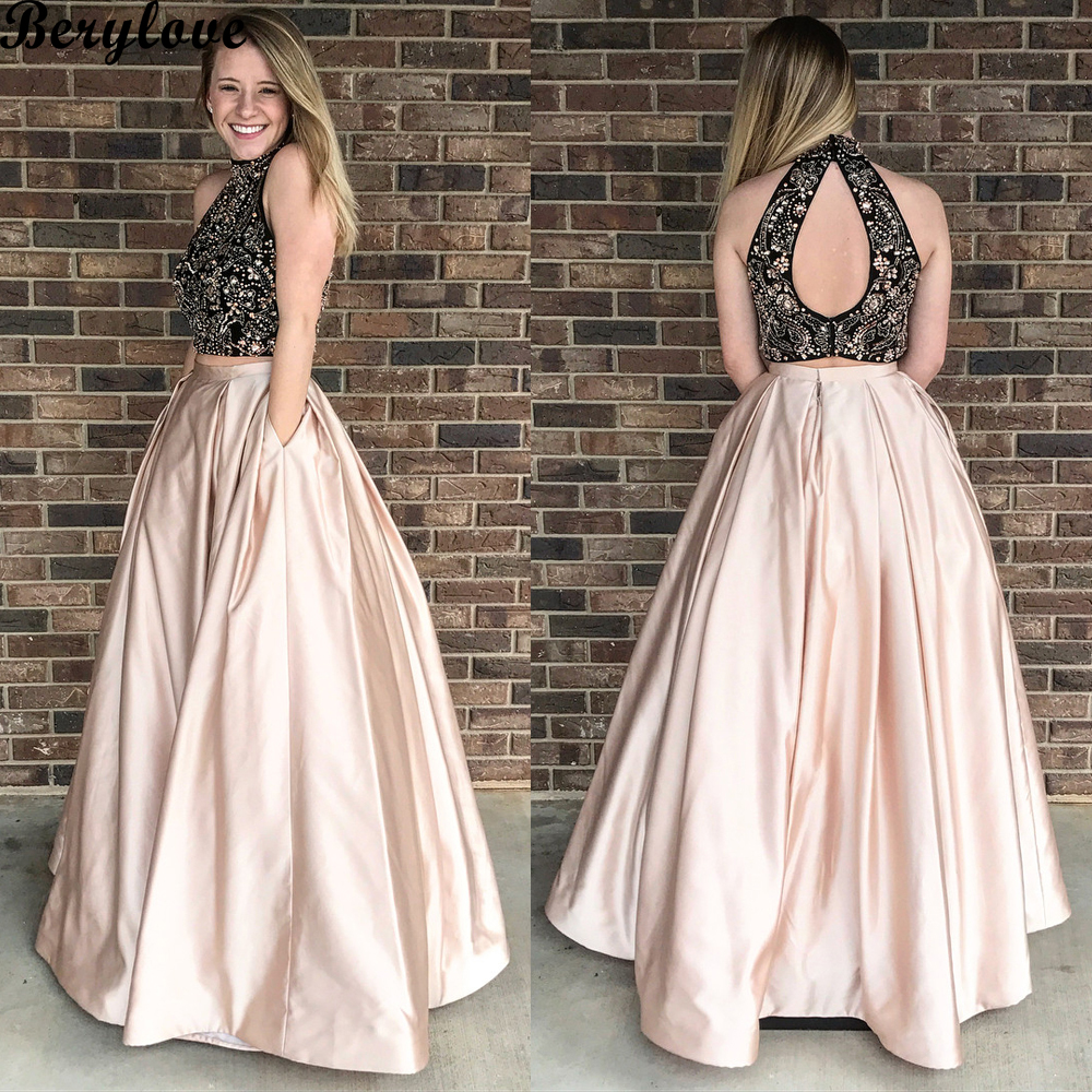 89b3e284bde BeryLove Champagne 2 Two Pieces Evening Dresses 2018 High Neck Beaded Satin  Evening Dress Styles Plus Size Formal Gowns Evening-in Evening Dresses from  ...