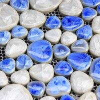 Light Blue And White Ceramic Porcelain Mosaic Backsplash HMCM1014 Pebble Kitchen Wall Tile Sticker Bathroom Floor