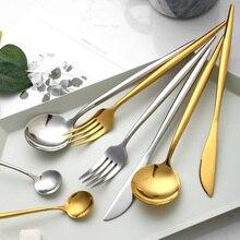 4pcs/set Gold Cutlery Set 304 Stainless Steel Dinnerware Knife Fork Spoon Western Food for Dinner Kitchen Tableware