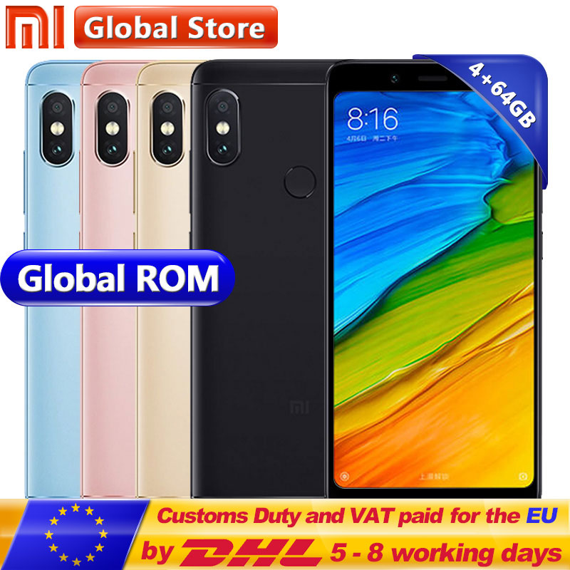 Оригинальный Xiaomi Redmi Note 5 4 ГБ 64 ГБ мобильный телефон Snapdragon S636 Octa Core 4000 мАч MIUI9 полноэкранные 5,99 2160*1080 12,0 + 5,0 Мп