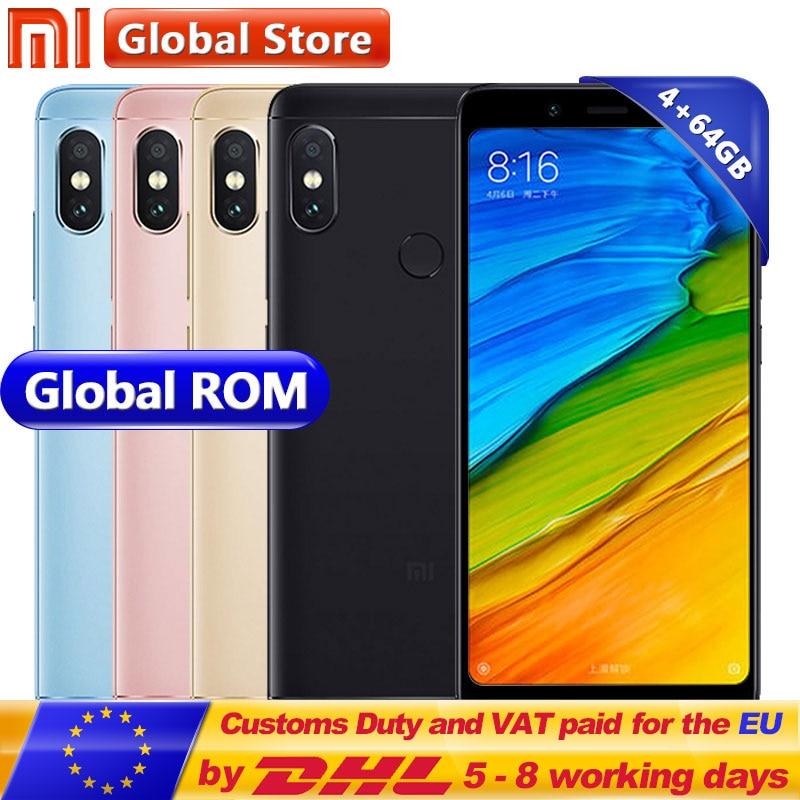 Original Xiaomi Redmi Nota 5 4 GB 64 GB teléfono móvil Snapdragon S636 Octa Core 4000 mAh MIUI9 Pantalla Completa 5,99 2160*1080, 12,0 + 5,0 MP