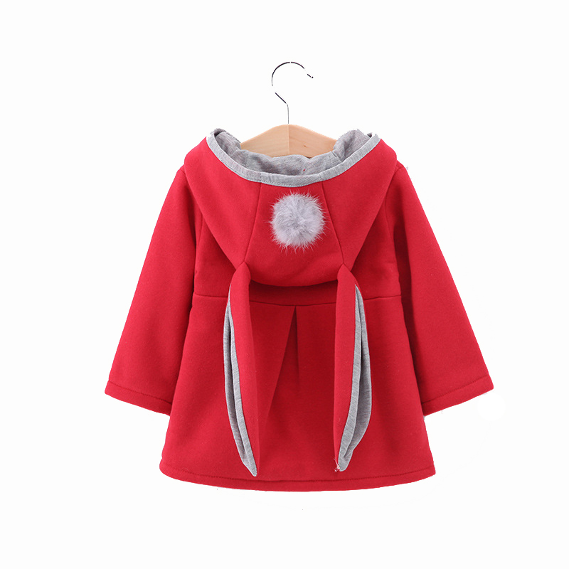 Oklady 2019 Spring Girl baby Outerwear Lovely Baby Rabbit Ears Hooded Girl for baby Clothing Cotton Coat Warm Outerwear