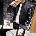 Men Jackets New Bomber Jacket 2016 Fashion Flower Long Sleeve Baseball Jacket Plus Size Slim Fit Casual Coat Male Men Clothes