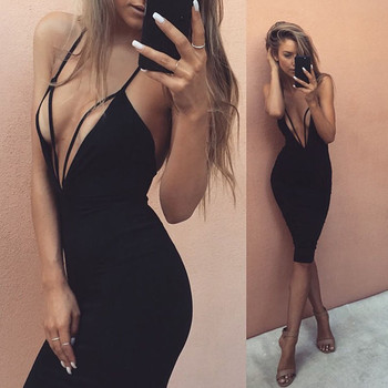 Women sexy Dress Sleeveless Lace-up Backless Dresses Sexy Deep V-neck Bodycon