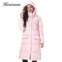 Hirsionsan Winter Coat Women 2017 New Split Thicken Pink Hooded Jacket Big Pocket Long Cotton Padded