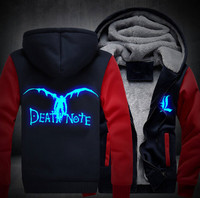 2018 USA Size Men Women Death Note Adult Thicken Hoodie Zipper Sweatshirts Coat Jacket