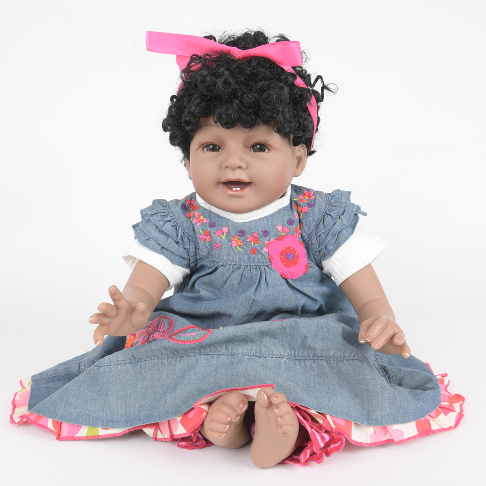 22 inches Realistic Full Silicone Reborn Doll Cute Lovely Newborn Baby Girl Doll Toy for Kids Birthday Xmas Gift Bebe realistic doll 18 inches cute doll handmade full vinyl american girl doll reborn baby kids gift for girl