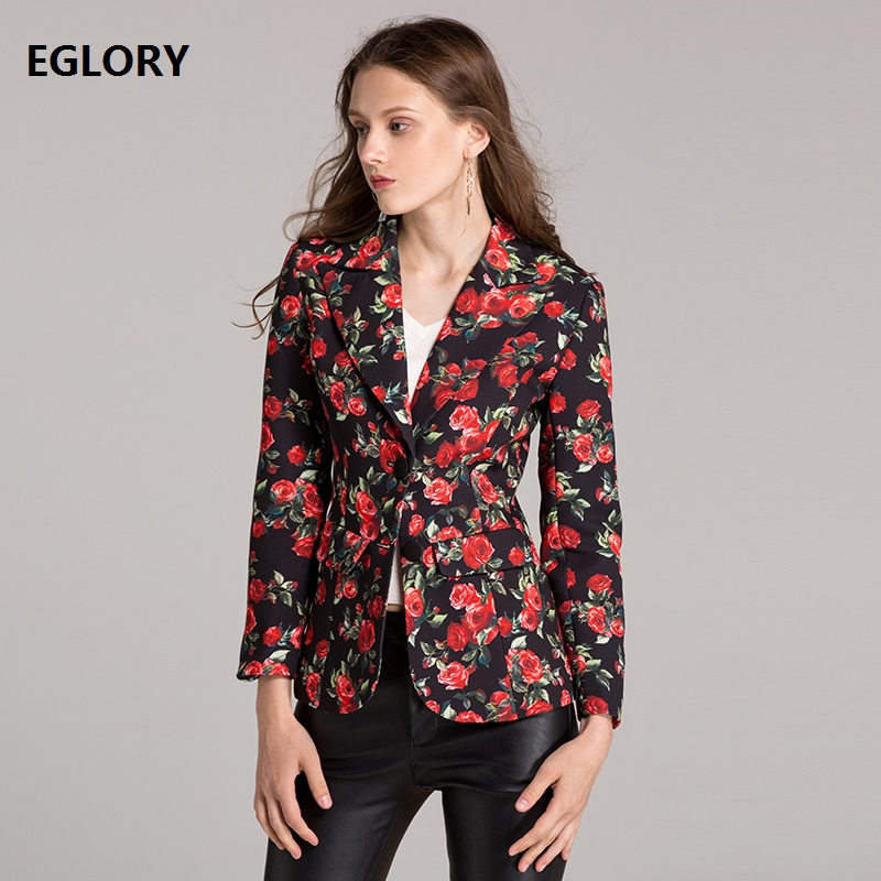 Womens Outwear & Jackets 2018 Spring Autumn Blazers Woman Red Rose Flower Print Single Breasted Coat Office Lady Blazer Jacket