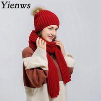 Yienws Winter Hoeden Voor Vrouwen Grijs Cap En Sjaal Set Gebreide Beanie Hoeden Vrouwelijke Witte Hoed Zwart Rood Gorros Mujer Invierno YIC044