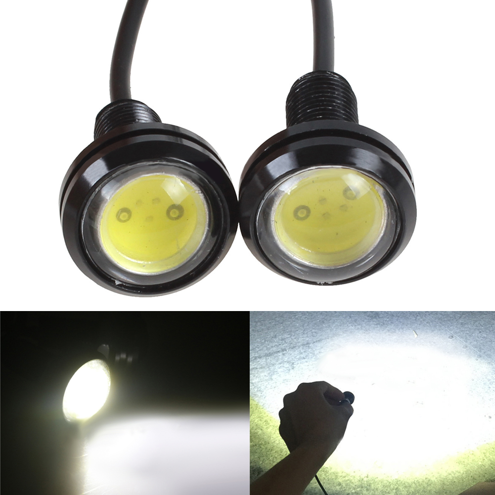 2PCS White DC12V 9W Eagle Eye LED Daytime Running DRL Backup Light Waterproof Car Turn Light External Lights car-styling sencart baz15d 7 5w 380lm 5 led white light car backup lamp dc 12 24v 2 pcs