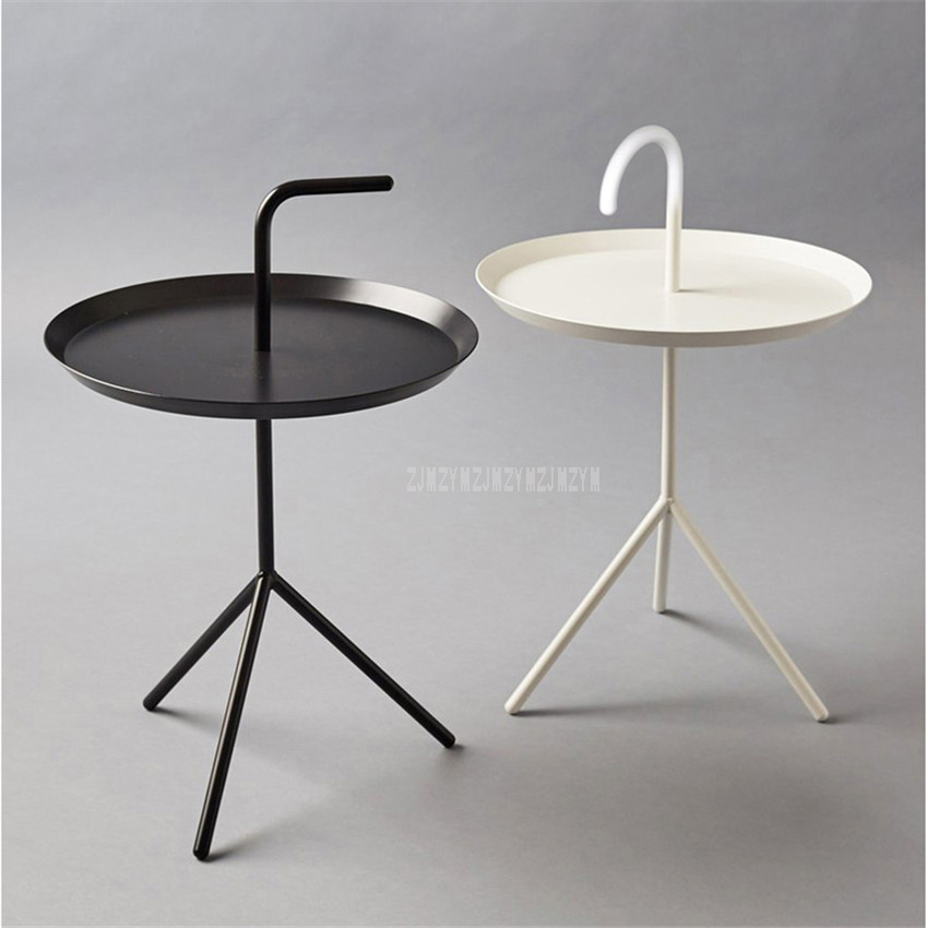 Creative Nordic Style Mini Round Tea Coffee Table Metal Modern Minimalist Home Bedroom Iron Art Small Bedside Table With Handle