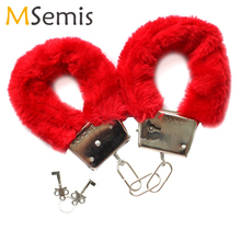 Multi Color Furry Fuzzy Soft Metal Sexy Handcuffs Adult Hen Night Party Game Nov