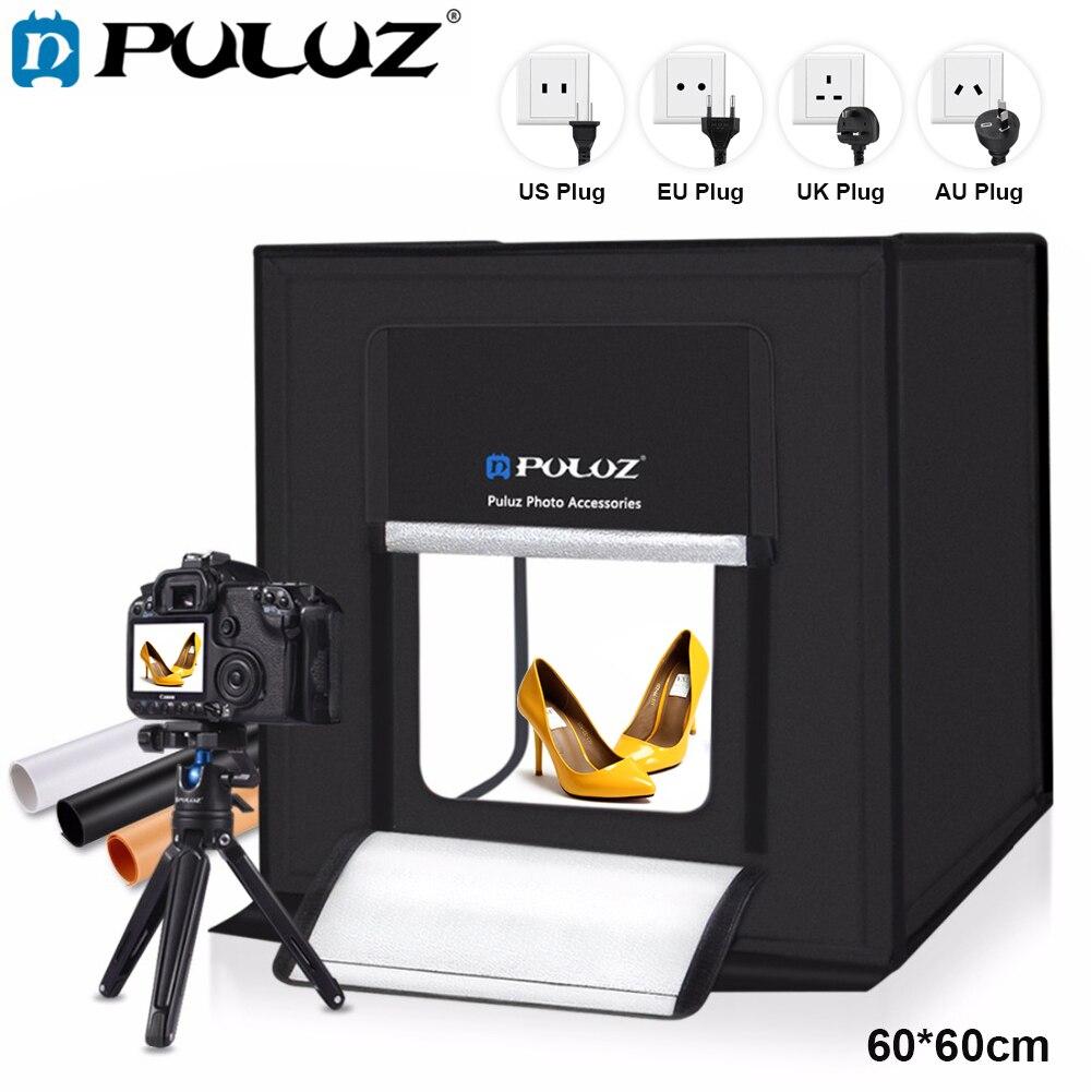 PULUZ светодиодный Lightbox 60*60 см светодиодный фотостудия Softbox съемка Light Палатка США Plug Мощность адаптер совместим с США/CA