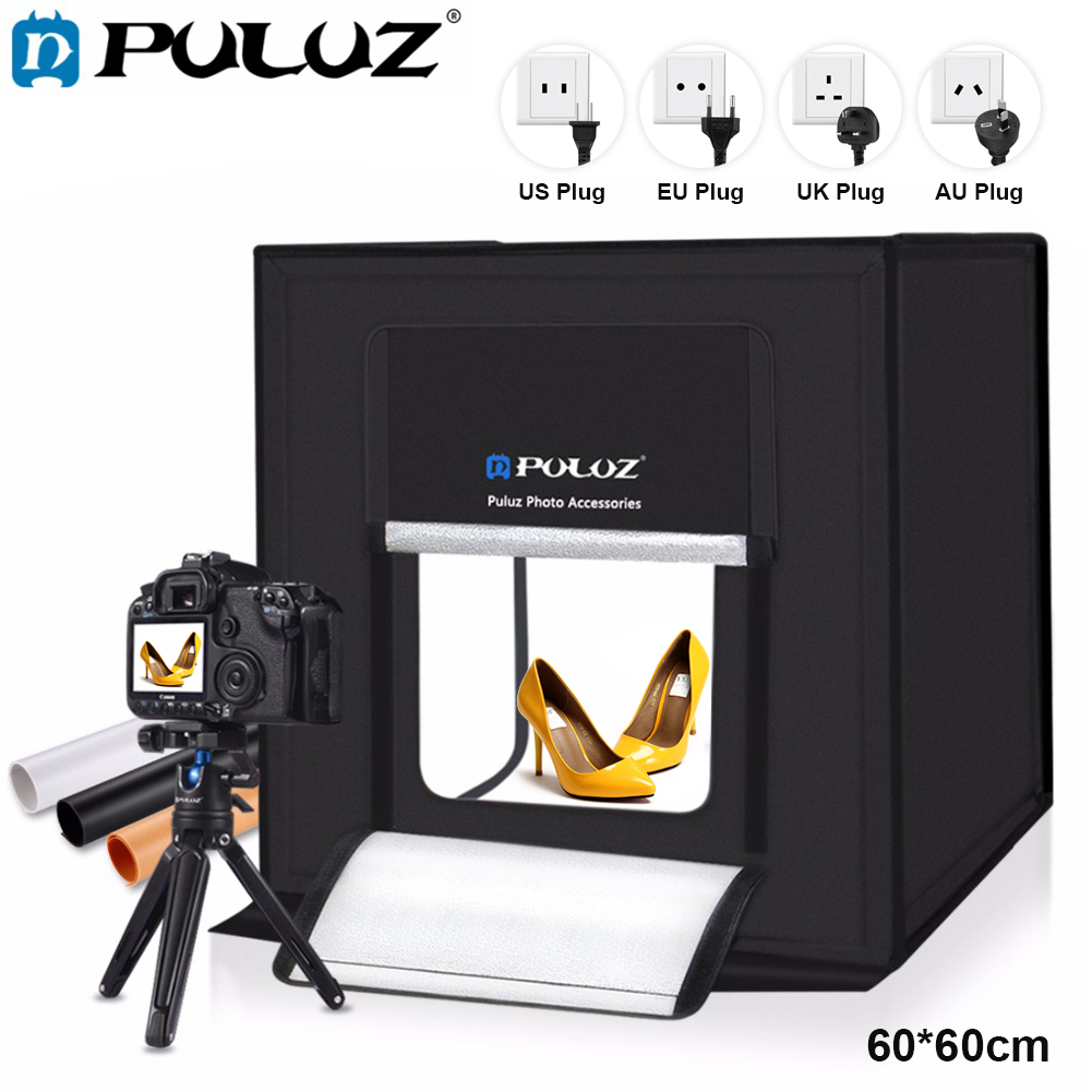PULUZ 60*60cm US/CA Plug LED Light Box Fotostudio Softbox Bright Cool White Photography Studio Box With 3 Colors Photo Backdrop led star ca 410