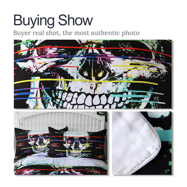COLORFUL LINE SKULL BEDDING SETS