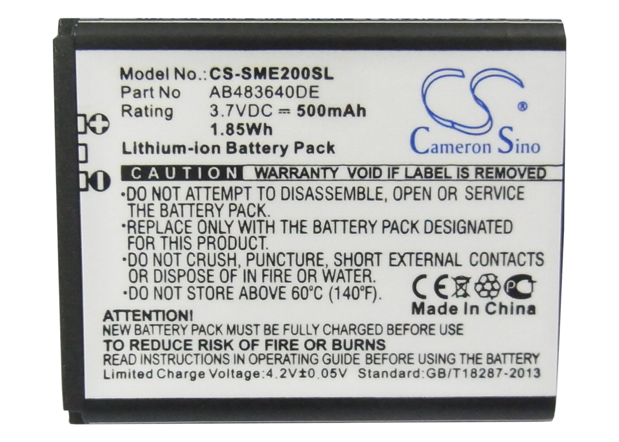 Cameron Sino 500mAh Battery AB483640CC, AB483640DE, AB483640DU for Samsung E200 Eco, SCH-S259, SGH-E200, SGH-E208, SGH-J150