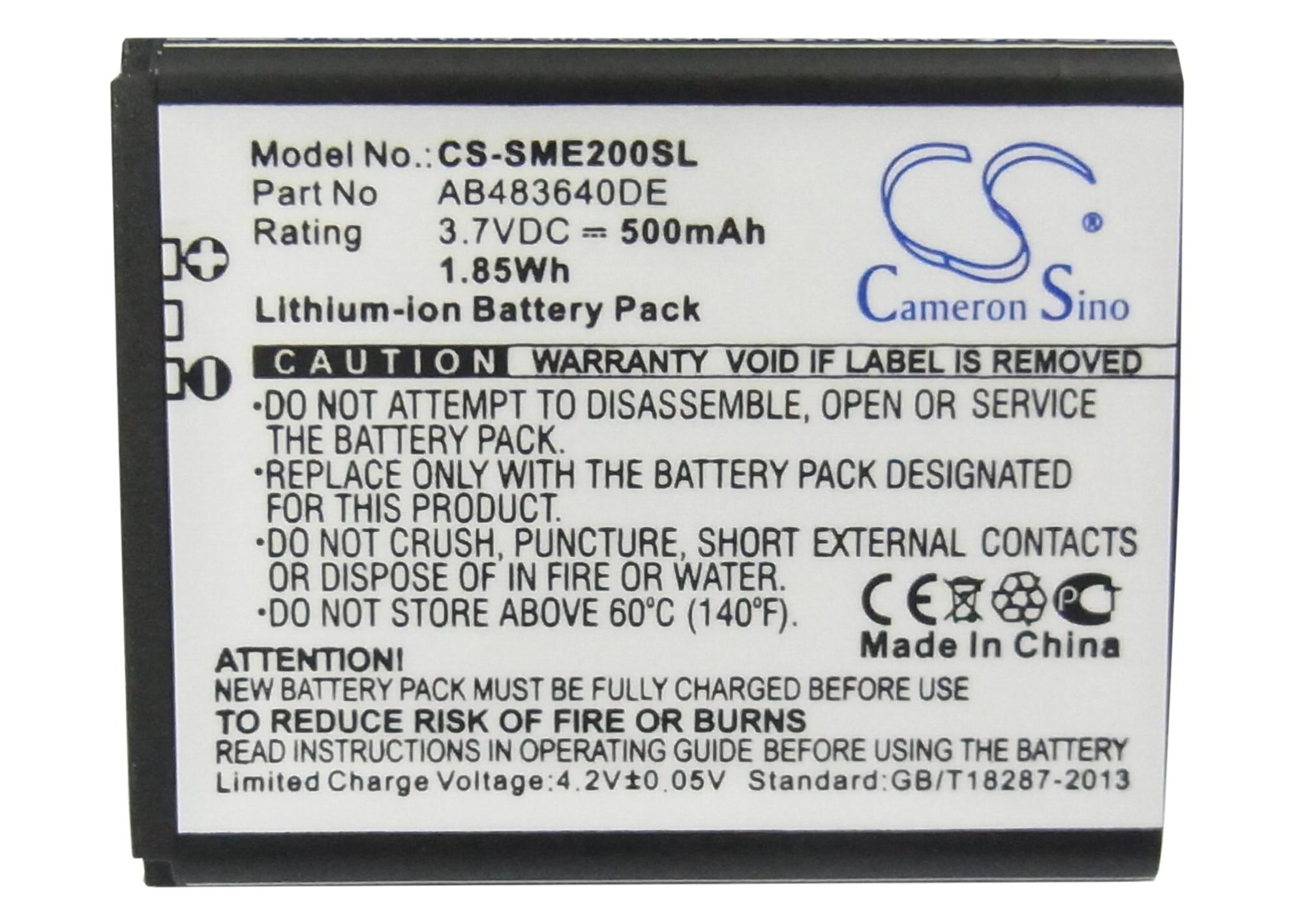 Cameron Sino AB483640CC Bateria de 500 mAh, AB483640DE, AB483640DU para Samsung E200 Eco, SCH-S259, SGH-E200, SGH-E208, SGH-J150