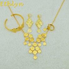 Ethlyn mujeres moda joyas Árabe Islámica Árabe Musulmana de series de monedas de Color Oro sistemas de la joyería de La Moneda