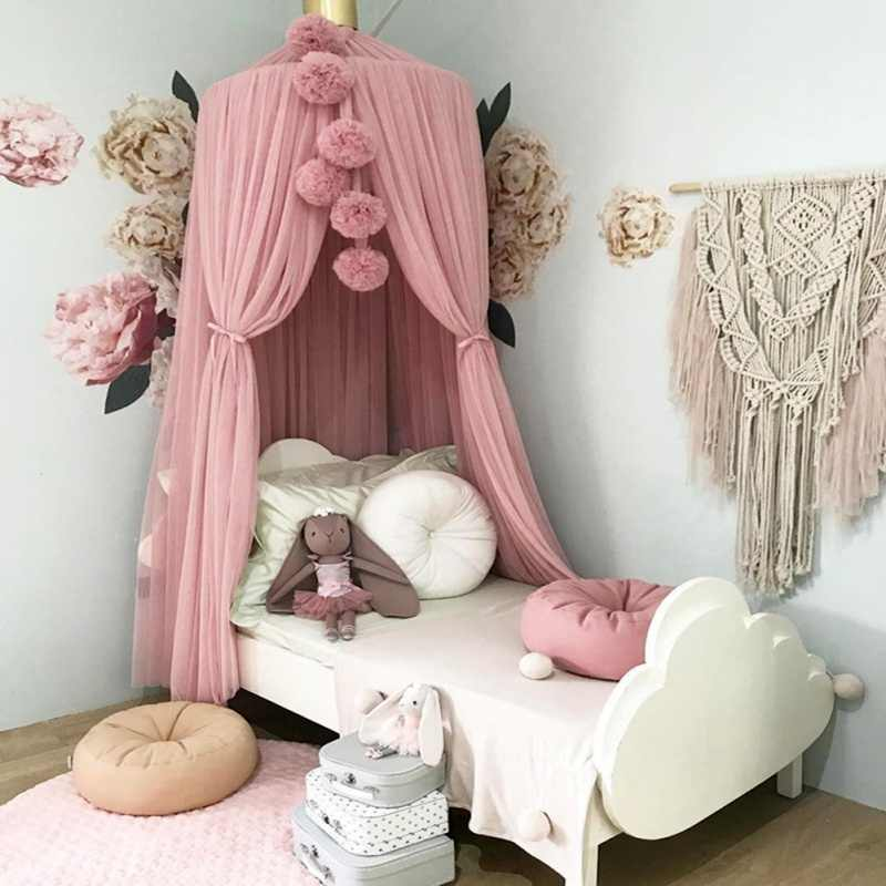 Summer Nordic Style Mosquito Net Ball Romantic Princess Chiffon Canopy Tent Bed Curtain For Adult Girls Kids Room Decoration