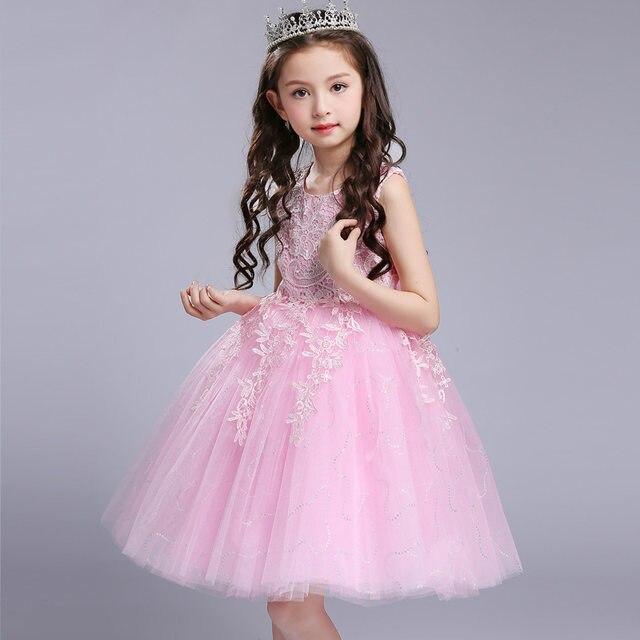 Online Shop Top 2017 Girls Lace Flower Princess Dress Baby Pink ...