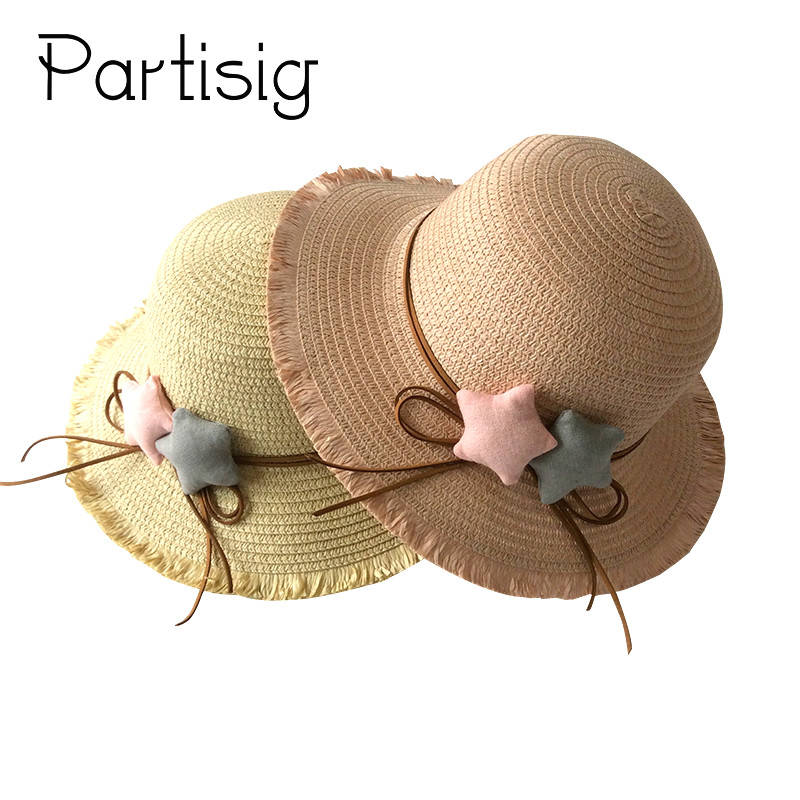 Girls Summer Hat Star Straw Hat for Girls Beach Panama Children Sun Caps Baby Hat Caps White 2-5 Years
