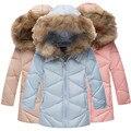 Nova chegada 2016 meninas de Inverno de algodão-acolchoado Jaqueta Gir Crianças longa seção de inverno de espessura de pele gola do casaco Fino Outerwear casacos