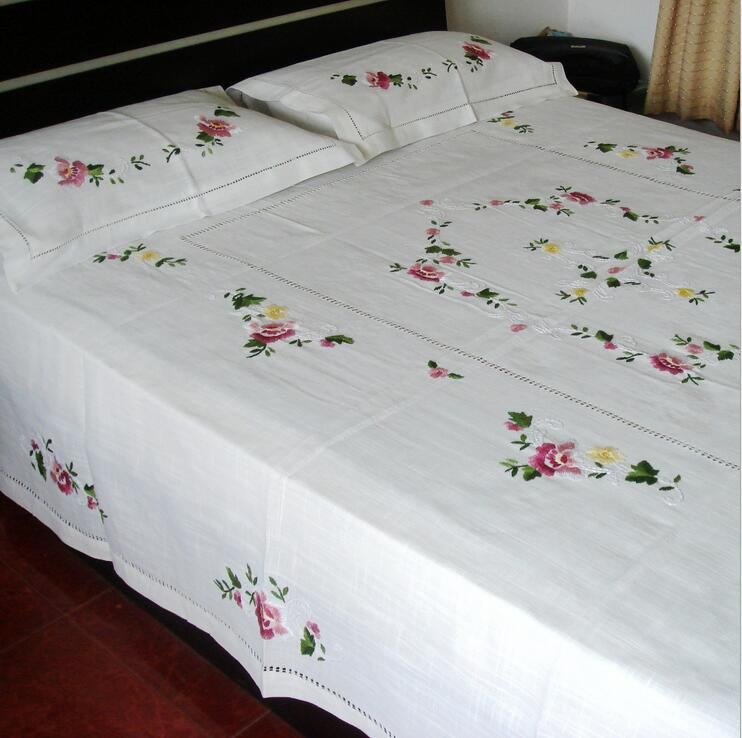 3pcs Plus Size Bed Sheet Set 1 Bedsheet And 2 Pillowcases Chinese  Traditional Hand Embroidered Peony