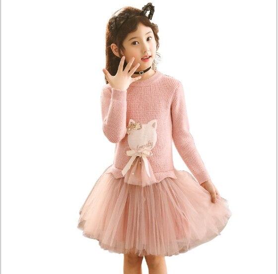 2020 New Fashion Sweater Dress For Girls Autumn Winter Kids Dresses For Girls Long Sleeve Christmas Princess Dress Robe Fille 12