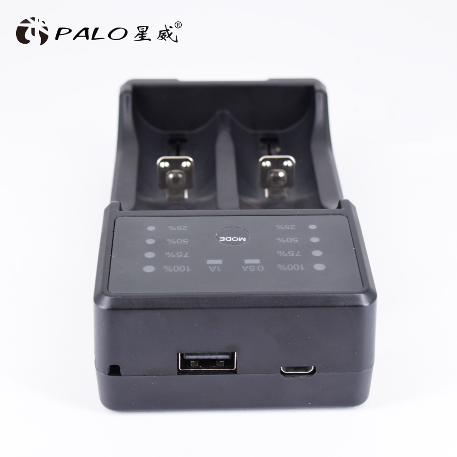 PALO USB LED Display Smart Battery Charger for Ni-Mh Ni-CD A AA AAA SC 3.7V Li-ion Rechargeable Batteries+Travel/Car Converter