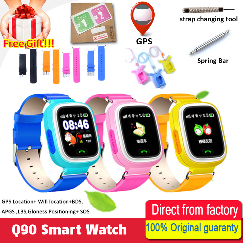 Smart baby Watch Q90 WIFI Touch Screen GPS Tracker smart watch jphone for kids safe SOS call Location devices Anti-Lost reminder children baby gps smart watch for kids safe q90 sim wifi touch screen sos call location tracker vibrate anti lost remote f27
